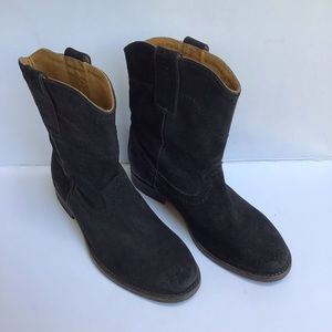 Boden Black Distressed Suede Boots